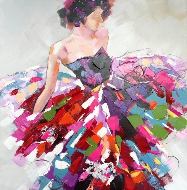 u0026quot vibrant dresses u0026quot  hand painted canvas art - contemporary - paintings