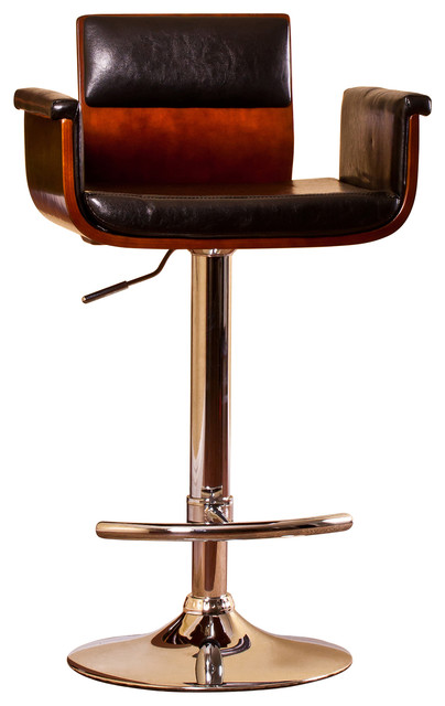 Padded Wood Back Adjustable Swivel Barstool With Armrests