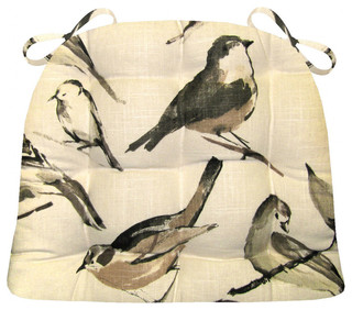 Song Bird Black Chicadee Dining Chair Pad, Latex Foam Fill, Linen, XL