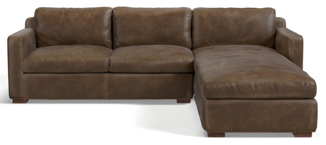 Tribecca Sofa Chaise, Whiskey Leather, Right Hand Facing