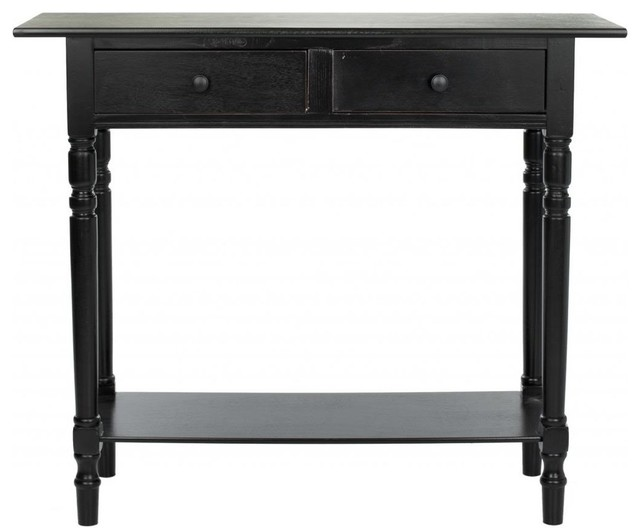 Safavieh Rosemary 2 Drawer Console, Distressed Black.