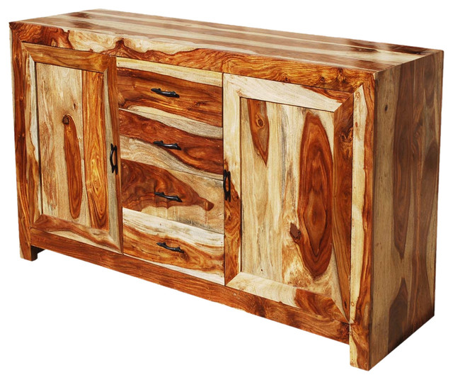 Contemporary solid wood storage buffet southwestern