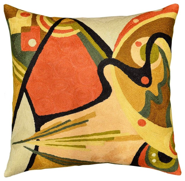 Kandinsky Throw Pillow In The Flow II Wool Hand Embroidered 18x18\