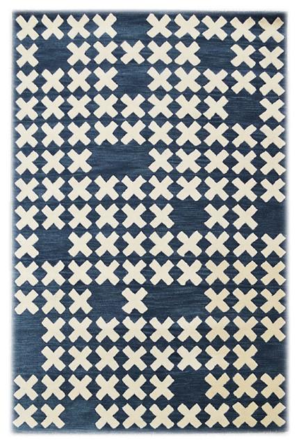 """""""System"""" Wool Floor Rug by Lavmi, Dark Blue, 244x153 cm"""