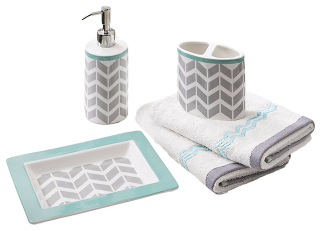 Olliix ceramic 5pcs bath accessory set view in your for Teal bathroom accessories sets