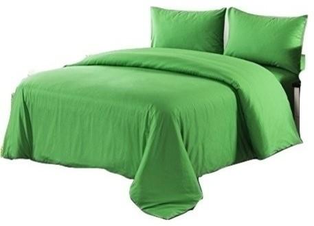 Tache Piece Cotton Solid Green Comforter Set With Zipper - Contemporary green comforter set