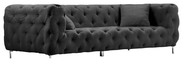 Battista 3 Fabric Sofa, Midnight Black