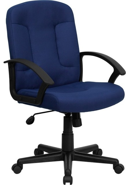 Mid-Back Navy Fabric Executive Swivel Office Chair With Nylon Arms.