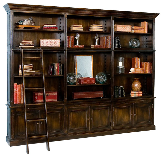 Royal Library Cabinet, Ebony Antique Oak - Accent Chests And Cabinets - by Sarreid Ltd