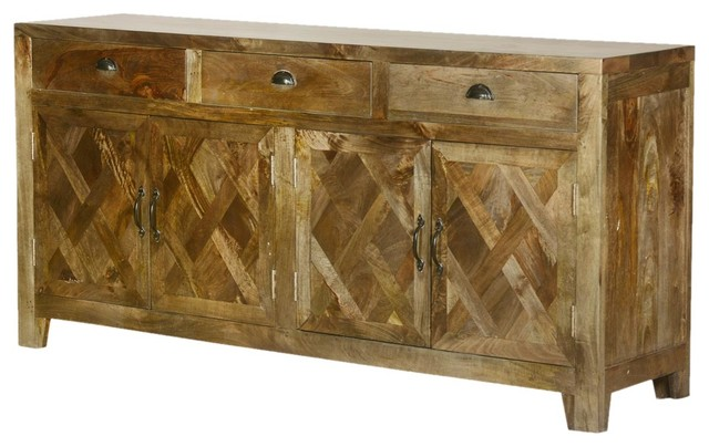 Parquet Farmhouse Mango Wood Sideboard Buffet Cabinet  rustic-buffets-and-sideboards