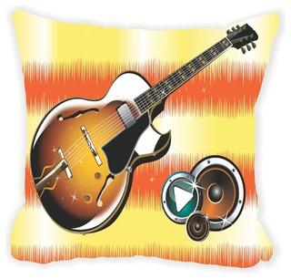 "Jammin Guitar on Orange Waves Microfiber Throw Pillow 16"" Square ..."