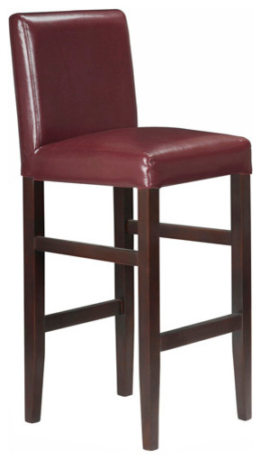 Kendall Contemporary Wood Faux Leather Bar Stools Red Apple Set Of 4