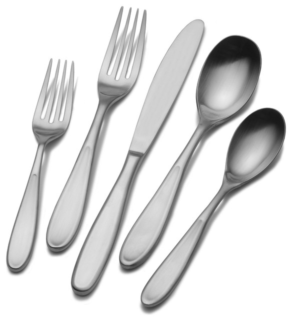 Stainless steel 42 piece contour flatware set contemporary flatware by - Contemporary stainless flatware ...