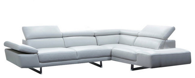 1717 Premium Leather Modern Sectional Sofa, Right Hand Facing Chaise