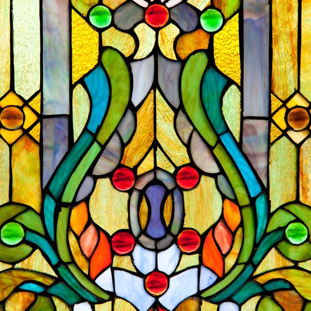 Retro Stained Glass Fleur De Lis Window Panel Accent Decor