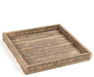 Homestead Rustic Lodge Reclaimed Wood Square Tray - Rustic - Serving Trays - by Kathy Kuo Home  sc 1 st  Houzz & Homestead Rustic Lodge Reclaimed Wood Square Tray - Rustic - Serving ...