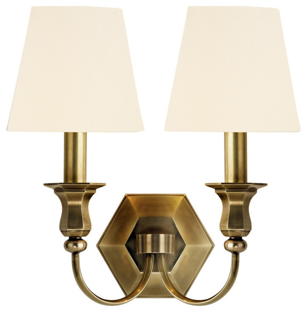 Wall Sconces Transitional : Hudson Valley Charlotte 2 Light Wall Sconce in Aged Brass - Transitional - Wall Sconces - by ...