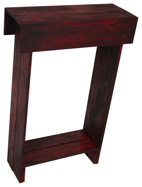 Awesome Iver Skinny Wall Table, Distressed Red Rustic Side Tables And End