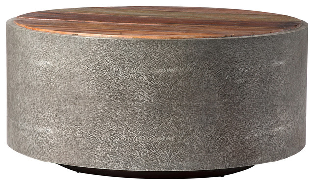 Dieter Rustic Modern Grey Faux Shagreen Wood Round Coffee Table