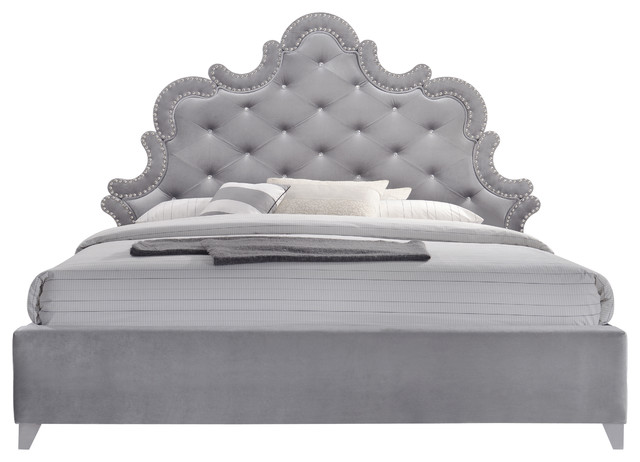 Sophie Velvet Queen Bed, Gray.