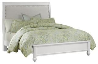 Lissette Upholstered Bed, Parisian White, Queen