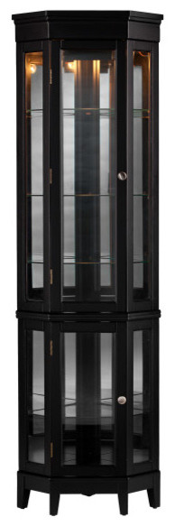 Essex Curio, Black - Transitional - China Cabinets And Hutches - by Furniture Domain