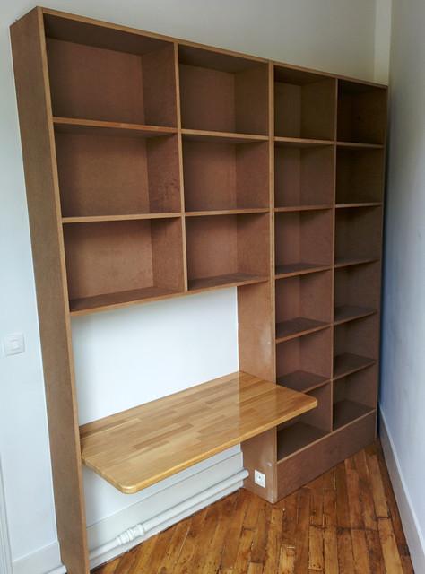 Cr ation d 39 un meuble de bureau avec rangements int gr s for Meuble bureau avec rangement