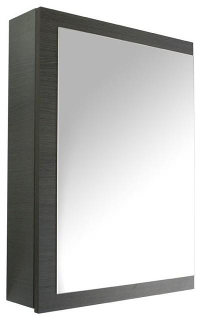 Gray Oak Medicine Cabinet With Mirrored Door Contemporary Medicine Cabinets