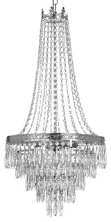 Cadence French Empire Light Crystal Chandelier Silver