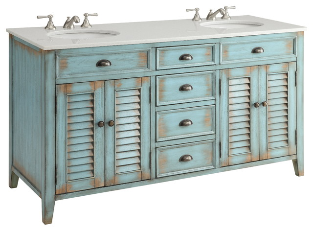 In Stock 60 Abbeville Rustic Blue Double Sink Vanity Farmhouse Bathroom Vanities And Sink Consoles By Chans Furniture Houzz