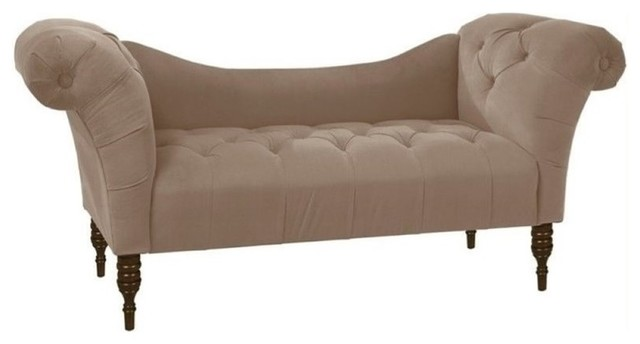 Pemberly Row Tufted Chaise Lounge, Cocoa.