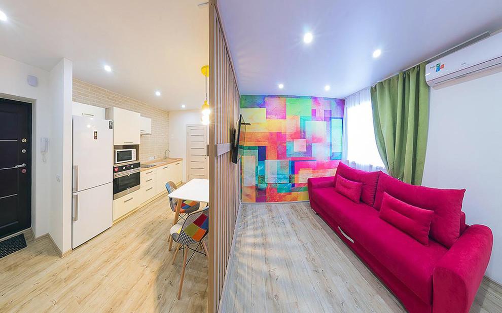 Современный интерьер квартиры студии для молодой семьи