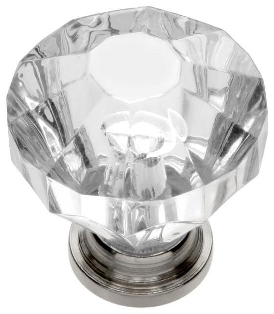 "Crystal Palace Knob, 1.25"" Diameter, Crysacrylic With Polished Nickel"