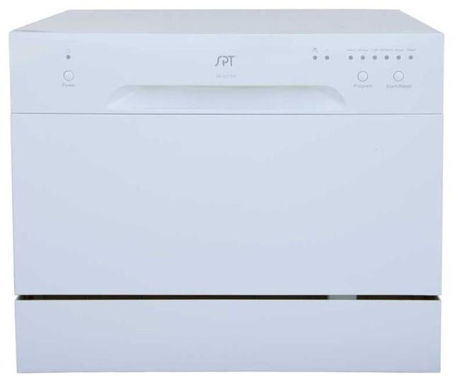 6 Place Settings White Countertop Dishwasher.