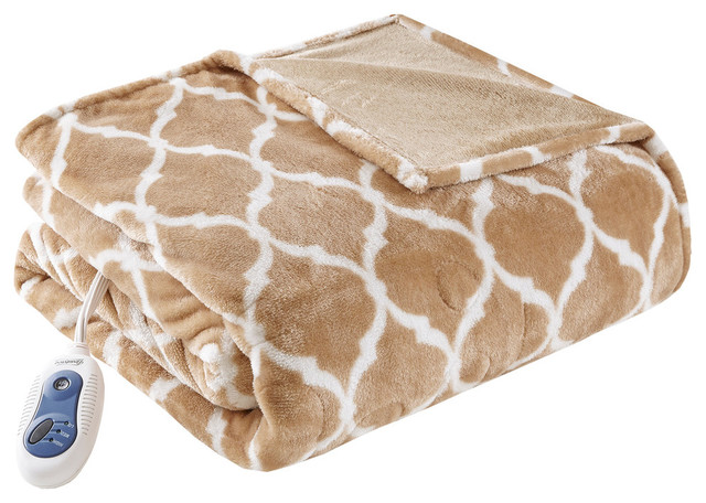 Knitted Ogee Printed Microlight Heated Throw, Tan