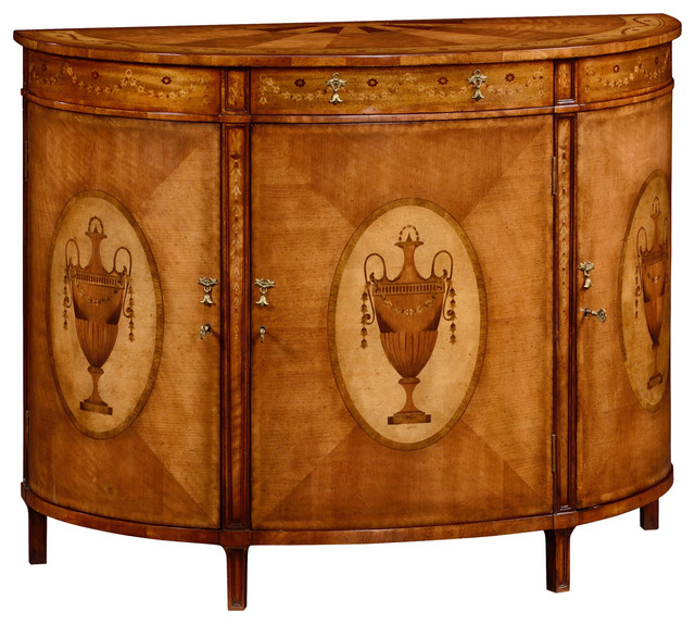 Jonathan Charles Adam Style Demilune Cabinet 492253 Victorian Accent Chests  And Cabinets