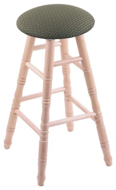 XL Maple Round Cushion Bar Stool Turned Legs Natural Axis Denim Seat Bea