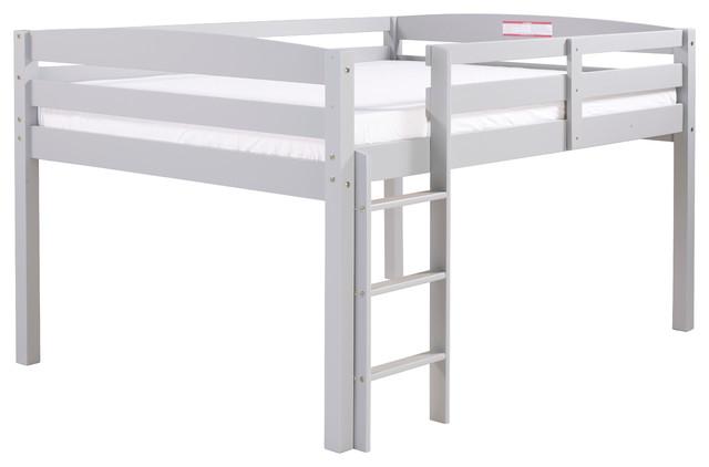 Concord Junior Loft Bed, Gray, Full.