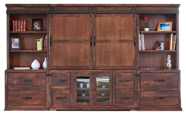 Anton Wall Unit 3 Piece Entertainment Center Tv Stand Rustic