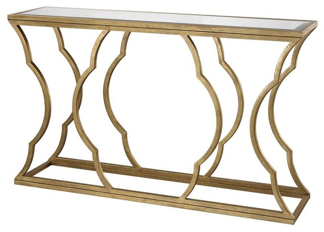 Dimond Home Metal Cloud Gl Console Table Gold Clear Top