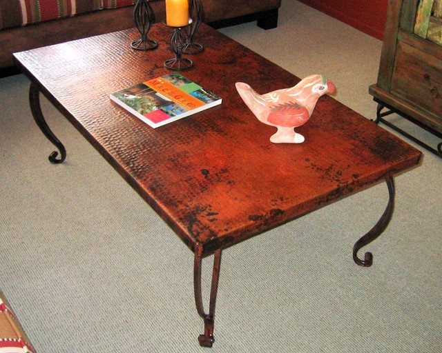 Furniture: Hammered Distressed Copper Coffee Table
