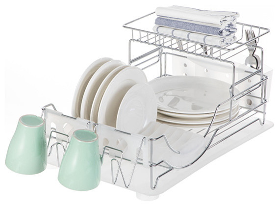 Kitchen Dish Drying Rack With Drain Board, 2-Tier, Chrome