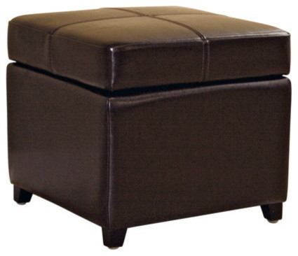 Awe Inspiring Baxton Studio Dark Brown Full Leather Storage Cube Ottoman Pabps2019 Chair Design Images Pabps2019Com