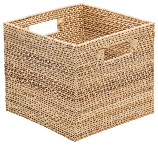 Laguna Square Rattan Storage Basket, Natural