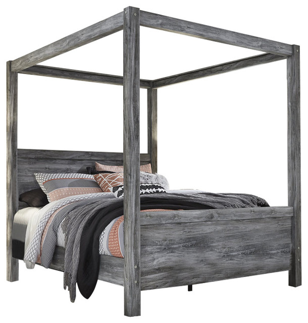Baystorm Queen Poster With Canopy Bed In Gray B221qc.