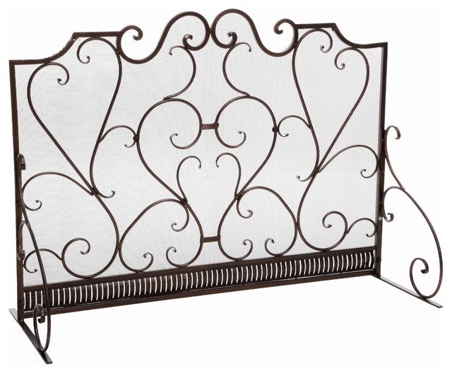 Adalia Black Brushed Gold Finish Wrought Iron Fireplace Screen traditional- fireplace-screens - Shop Houzz GDFStudio Adalia Black Brushed Gold Finish Wrought
