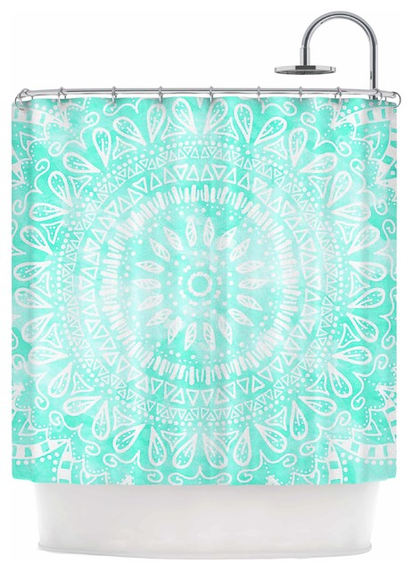 Nika Martinez Boho Flower Mandala In Teal Aqua Green Shower