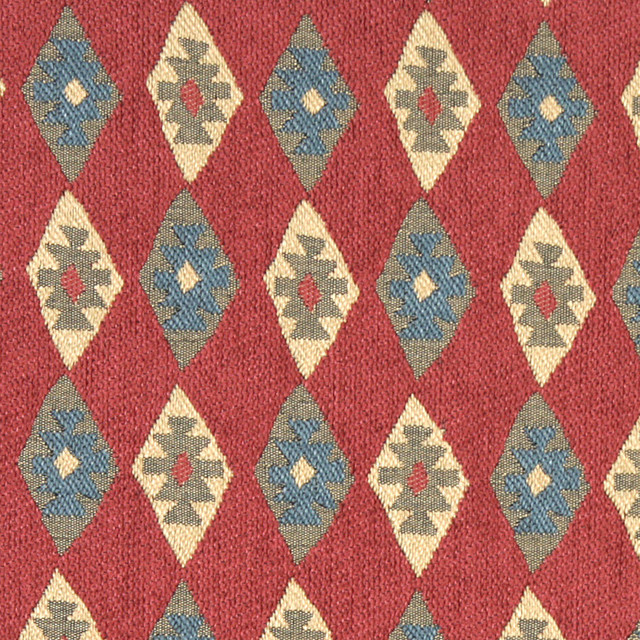 Red, Blue and Beige, Diamond Southwest Style Upholstery Fabric By The Yard