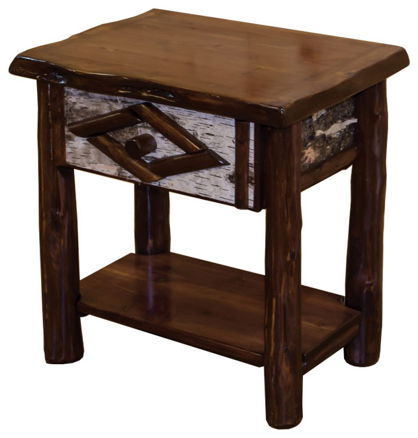Rustic Live Edge Red Cedar Log 1 Drawer Nightstand End Table Rustic Side Tables And End