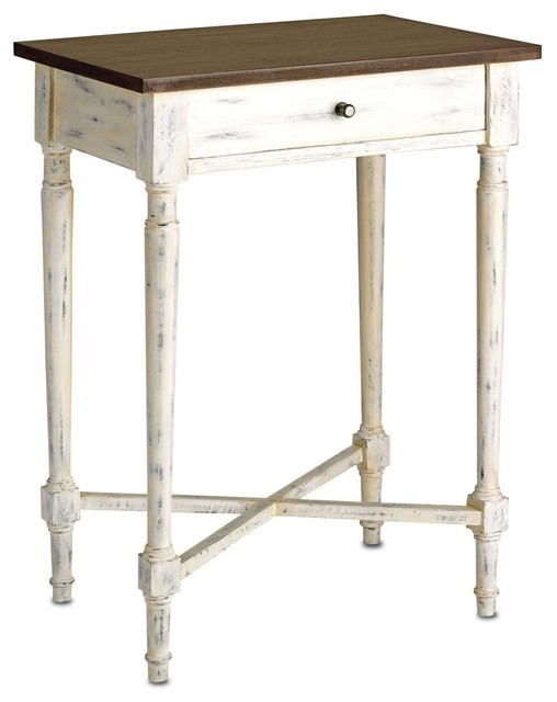 Currey Company Brewster Side Table In White Wash